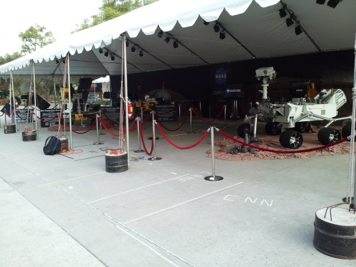 Media display on the Jet Propulsion Laboratory mall.