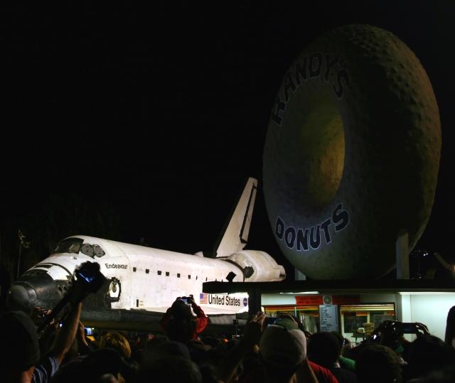 Space Shuttle rolling by Randy's.